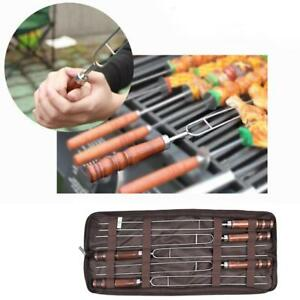 5xReusable Stainless BBQ Marshmallow Roasting Sticks Smores Skewers Hot Dog Fork