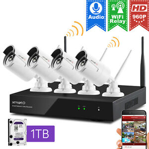 XmartO 4CH Wireless NVR 960p CCTV Home Security WiFi Camera System with 1TB HDD