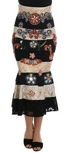 NEW $12400 DOLCE & GABBANA Skirt Crystal Carretto Black Gold Lace IT46 US12 XL