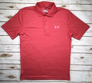 Mens Under Armour Performance Polo Golf Shirt Coral Heather Pink S 1242755 $31.26