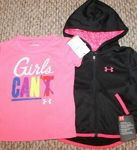 New! Girls Under Armour Lot (HoodieFull-ZipJacket+Shirt!BlackPink) Size 18 mo