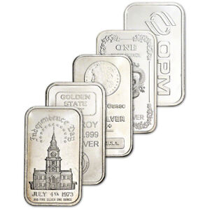1 oz Silver Bar Random Brand Secondary Market .999 Fine FIVE 5 Bars