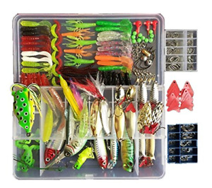 Set Fishing Tackle Lots Fishing Baits Kit Set For Freshwater Trout Bass 270Pcs