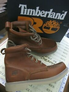 Nib Mens Timberland TB A1BC 214 Pro Ignition 6 Inch Soft Toe Brown Leather Work