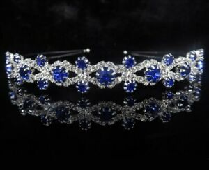Bridal Heart Crown Head Tiara Blue Crystal Hair Pageant Princess Queen Birthday $7.95