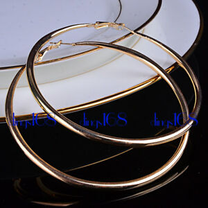 Ladies 18K Gold Filled 60 70 80mm 90mm Classic X Large Tubular Hoop Earrings E2G