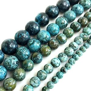 Green Blue Natural Gemstones Chrysocolla Round Spacer Loose Bead 15quot; 4 6 8 10 12