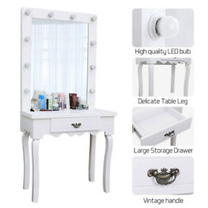 Vanity Hollywood Style Make up Table With Cosmetic Mirror Free 10 Lighted Bulbs