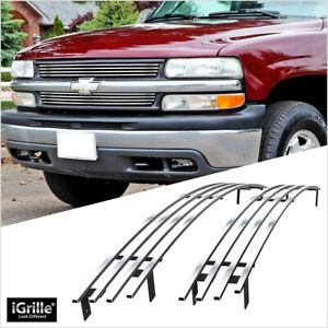 Stainless Steel Chrome Billet Grille Fits 99 02 Chevy Silverado 1500 Tahoe