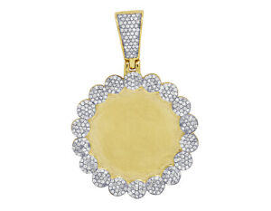 Real Diamond Cluster Memory Picture Photo Pendant In 10K Yellow Gold 67 CT 1.5
