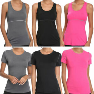 Women Workout Stretchy Quick Dry Vests Sportswear Tee Tank Top Shirt