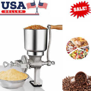 Tall Cast Iron Manual Mill Grinder Grains Corn Coffee Nuts Wheat Hand Crank US