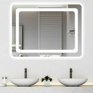 Vanity Bathroom Mirror LED Lighted Anti-Fog Touch Button Make up Wall Mirro