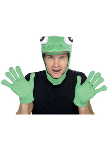 Frog Kit Green with Hood and Gloves Comedy Fancy Dress Costume Accessory