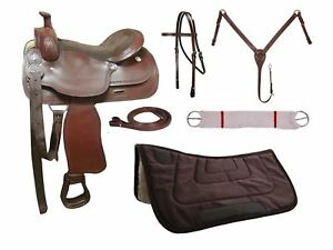 Tahoe Barbwire Tooled Leather Trail Saddle Set 6 Items Warehouse Clearance Sale