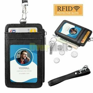ID Badge Holder Lanyard Credit Card Case Vertical Retractable Rope Hang Neck New