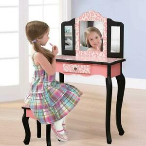 Vanity Table Set Makeup Dressing Table Kids Girls Stool Mirror with Drawer