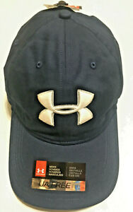 NWT UNDER ARMOUR 1296629 408 MEN'S CHINO GOLF UA FREE FIT NAVY  CAP HAT $25