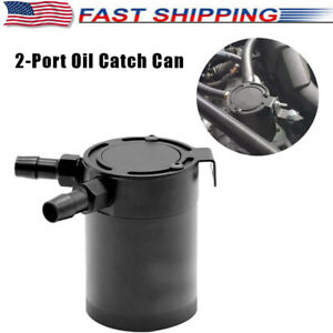 Universal 2-Port  Oil Catch Can Tank Compact Baffled Air-oil Separators black
