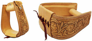 Horse Western Saddle Tack Floral Hand Tooled Leather Covered Stirrups 51173TN