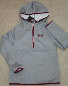 New! Girls Under Armour 12 Zip Hoodie (Pullover; Fleece; Gray) - Medium 10-12