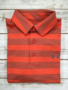 Mens Under Armour Polo Members Bounce Golf Shirt Red Grey Striped M DEFECT