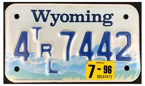 Wyoming 1996 SMALL TRAILER License Plate 4 7442