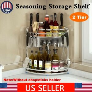 2 Tier Stainless Steel Kitchen Seasoning Storage Rack Spice Organizer Shelf Tool