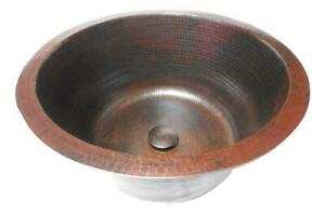 Extra Deep 16quot; Large Round Copper Bathroom Sink with Pop Up Drain