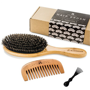 Boar Bristle Hair Brush for Natural Conditioning Wooden Comb Detangling Natural