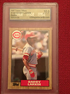 *CHOICE* BARRY LARKIN Autograph, Game Used, SERIAL #'D, and Graded Rookie REDS