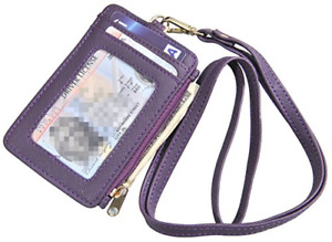 ID Badge Holder with Neck Lanyard PU Leather ID Badge Wallet Case 4 Card Slots