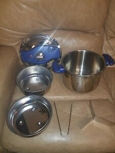 Blue T-FAL 6 L Clipso Pressure Infusion Cooker 18-10 Stainless France W/Acc's