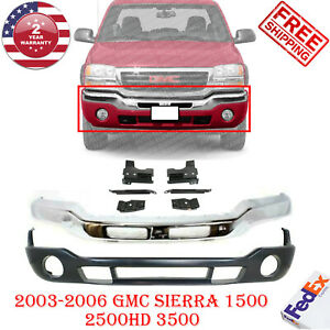 Front Bumper Chrome Steel + Valance + Bracket For 2003-07 GMC Sierra 1500 - 3500