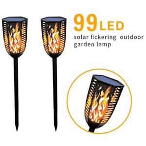 2x 99LED Solar Flickering Flame Light for Outdoor Garden Waterproof Torch Lamp