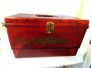 Vintage Acrylic Sewing Storage Box w. Inside Tray Carrying Handle $14.00