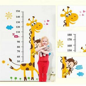 Wall Stickers Removable Giraffe Monkey Height Kids Nursery Decal Growth Chart FM