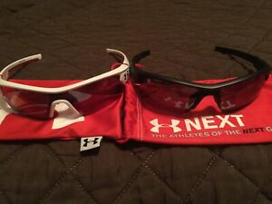 2 Pair Under Armour Menace Youth Sunglasses White Red Black Grey Kid's Baseball