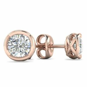 14k Designer Rose Gold Diamond Basket Stud Earrings - 1.80 ct D-SI1  Butterfly