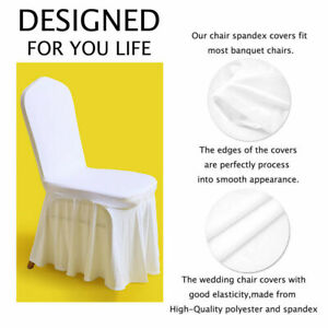 Wedding Hotel Spandex Pleated Skirt Style White Ruffled Slipcover Chair Covers