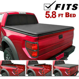 Fits 07-13 GMC Sierra Silverado ROLL UP Lock Soft Tonneau Cover 5.8ft Short Bed