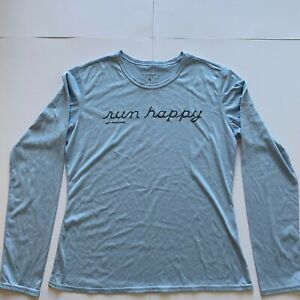 Brooks Womens Long Sleeve Running Shirt Run Happy Blue M EUC Equilibrium Tech