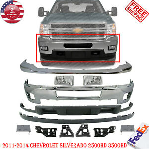 Front Bumper Chrome Steel Kit For 2011-2014 Chevy Silverado 2500HD 3500HD 12 Pcs