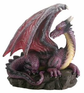 Purple Dragon on Rock Figurine Medieval Mythical Fantasy Creature Decoration New