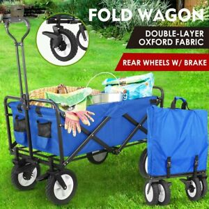 New Wagon Cart Beach Collapsible Folding Camp Trolley Garden Utility Cart Blue