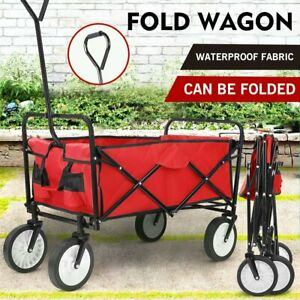 Wagon Cart Kid Beach Collapsible Folding Camping Trolley Garden Utility Cart RED