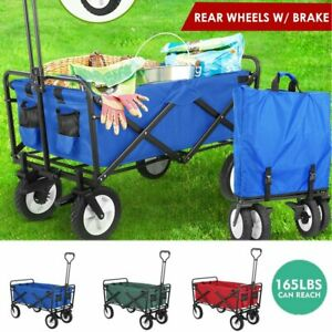 Collapsible Wagon Cart Kid Toy Beach Folding Camping Trolley Garden Utility Cart