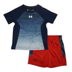 Under Armour Toddler Boys SS Navy Printed Dry Fit Top 2pc Short Set Size 2T
