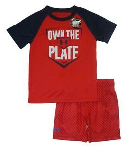Under Armour Toddler Boys SS Own The Plate Dry Fit Top 2pc Short Set Size 3T