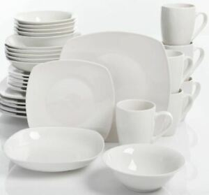 30 Piece Porcelain Dinnerware Set Square Dinner Plates Dish Service For 6 White $45.49